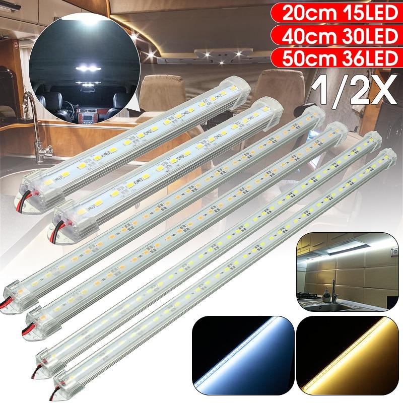 12V SMD 5630 LED Car Interior Light Bar Tube Strip Lamp Van Boat Caravan Motor Home Truck White Yellow