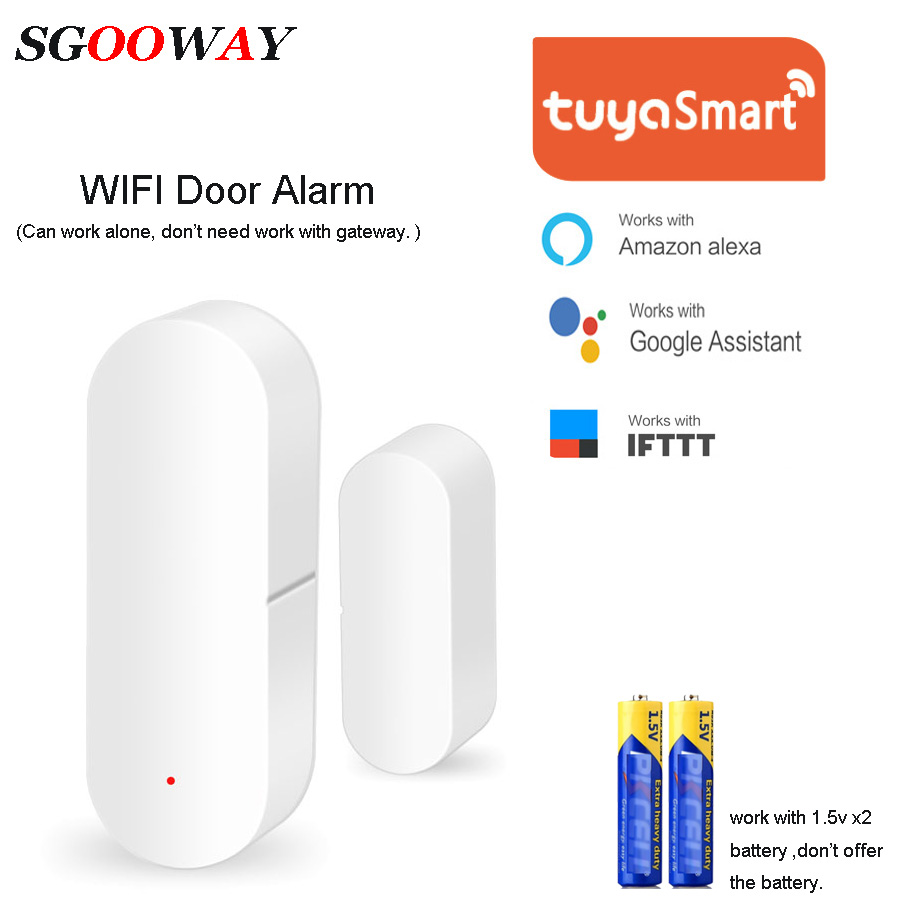 Sgooway Tuya Smart WiFi Door Sensor Door Open / Closed Detectors Compatible With Alexa Google Home IFTTT Tuya APP