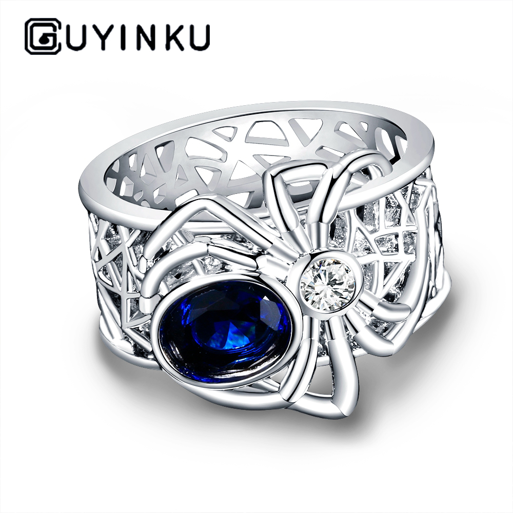 New Arrival Spider Silver Jewelry Rings High Quality Sapphire Gemstones Punk Party Ring For Women Men's Jewerly Wholesale Gift