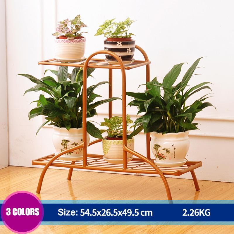 2Tiers Flower Pot Iron Metal Shelves Floor-Standing Plant Display Stand Plant Succulent Pot Rack Garden Patio Home Decor Rack