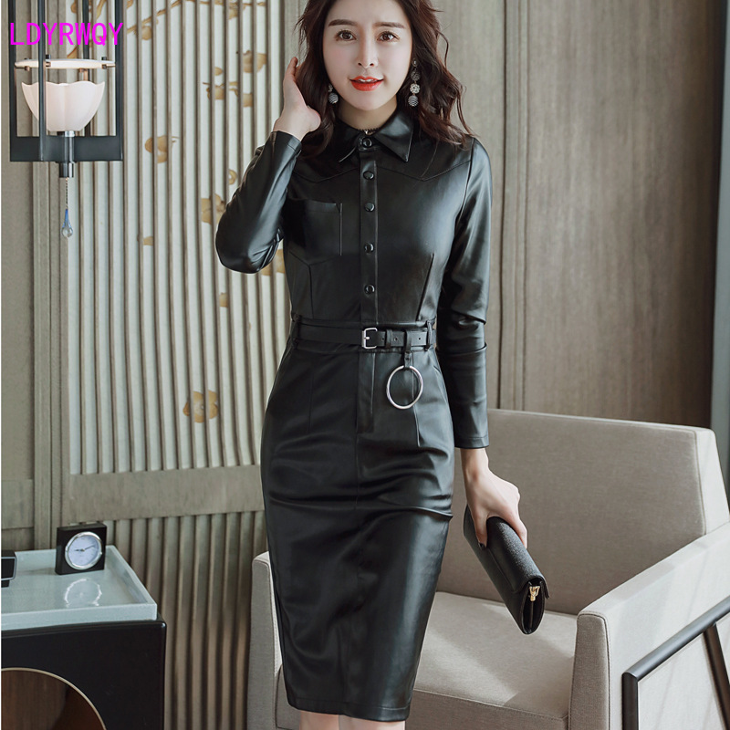 2019 Autumn New Korean Women's Fashion Temperament Lapel Single-breasted Slim PU Leather Long-sleeved Dress Sashes