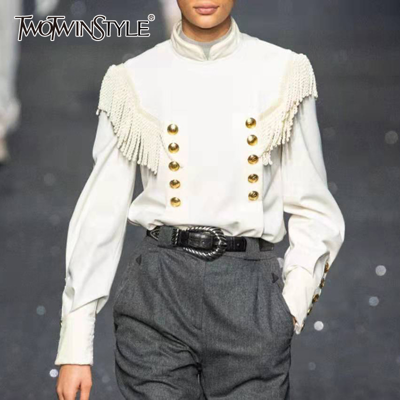 TWOTWINSTYLE Patchwork Tassel White Women's Shirts Stand Collar Long Sleeve Double Breasted Blouse Female Autumn Fashion OL 2020