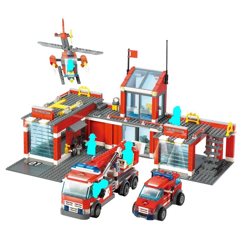 Compatible legoinglys City Vehicles Fire House Truck Helicopter Car Creator Building Blocks Figures Bricks DIY Toys for Children