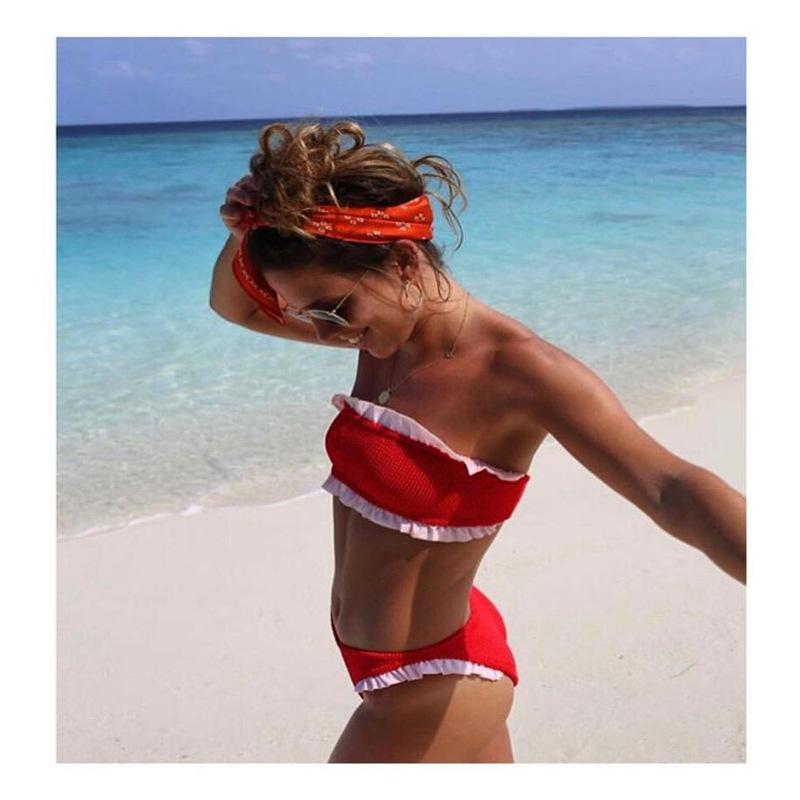 2019 New Style Swimming Suit AliExpress Hot Selling Tube Top Frilled Two-piece Swimsuits Women's Sexy Bikini