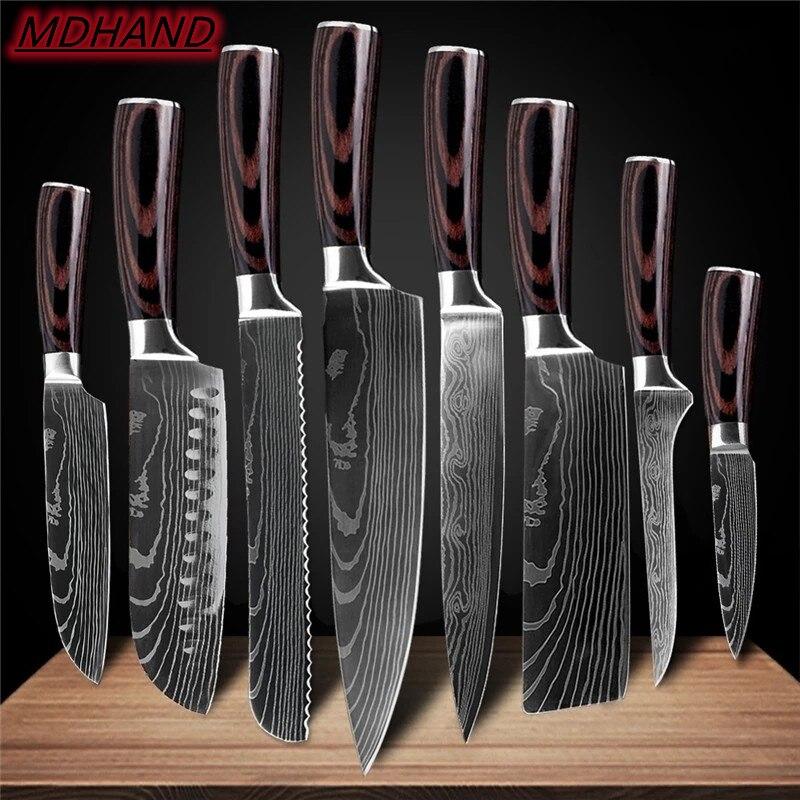 Japonês conjunto de faca de cozinha padrão damasco laser aço inoxidável afiada cutelo facas utilitárias ferramentas cozinha