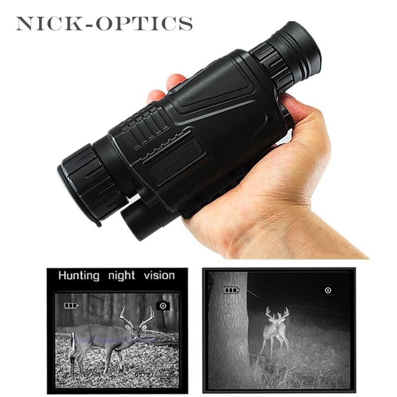Binóculos de visão noturna profissional da caça infravermelha monocular do telescópio com cartão de memória 8gb