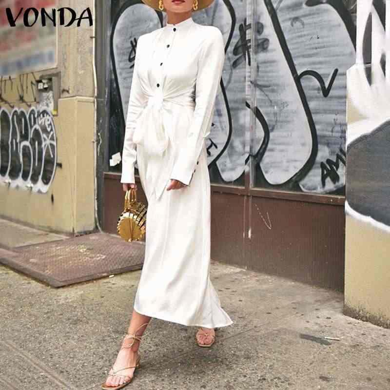 VONDA แยกชุด Hem 2020 ผู้หญิงลำลอง O คอยาวแขนยาวหลวม Bohemian Sundress PLUS ขนาด Vestidos Femme