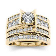 Luxury Gold Round Zircon Wedding Rings Set for Bridal Wedding Band Engagement Ring Lover's Jewelry Gifts