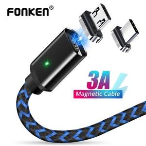 FONKEN-Cable magnético Micro USB tipo C para teléfono, Cable magnético de 1m, 2m, LED, cargador magnético rápido, Mini Cable USB C para cargar la carga