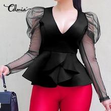 Stylish Tops Celmia Women Peplum Shirts 2021 Fashion Puff Sleeve Blouse V neck Mesh Sheer Casual Solid Party Ruffles Blusas 5XL
