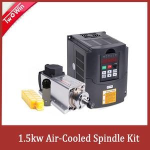 Image 1 - 1.5KW/220V CNC mili 1500W 220V 24000RPM hava soğutmalı mil motoru CNC Motor + 1.5KW invertör + 1 takım er11 kare freze mili