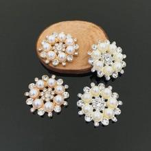 Free Shipping 28mm 50pcs/lot Flatback Rhinestone Button With Pearl For Hair Flower Wedding Embellishment LSB002 цена 2017