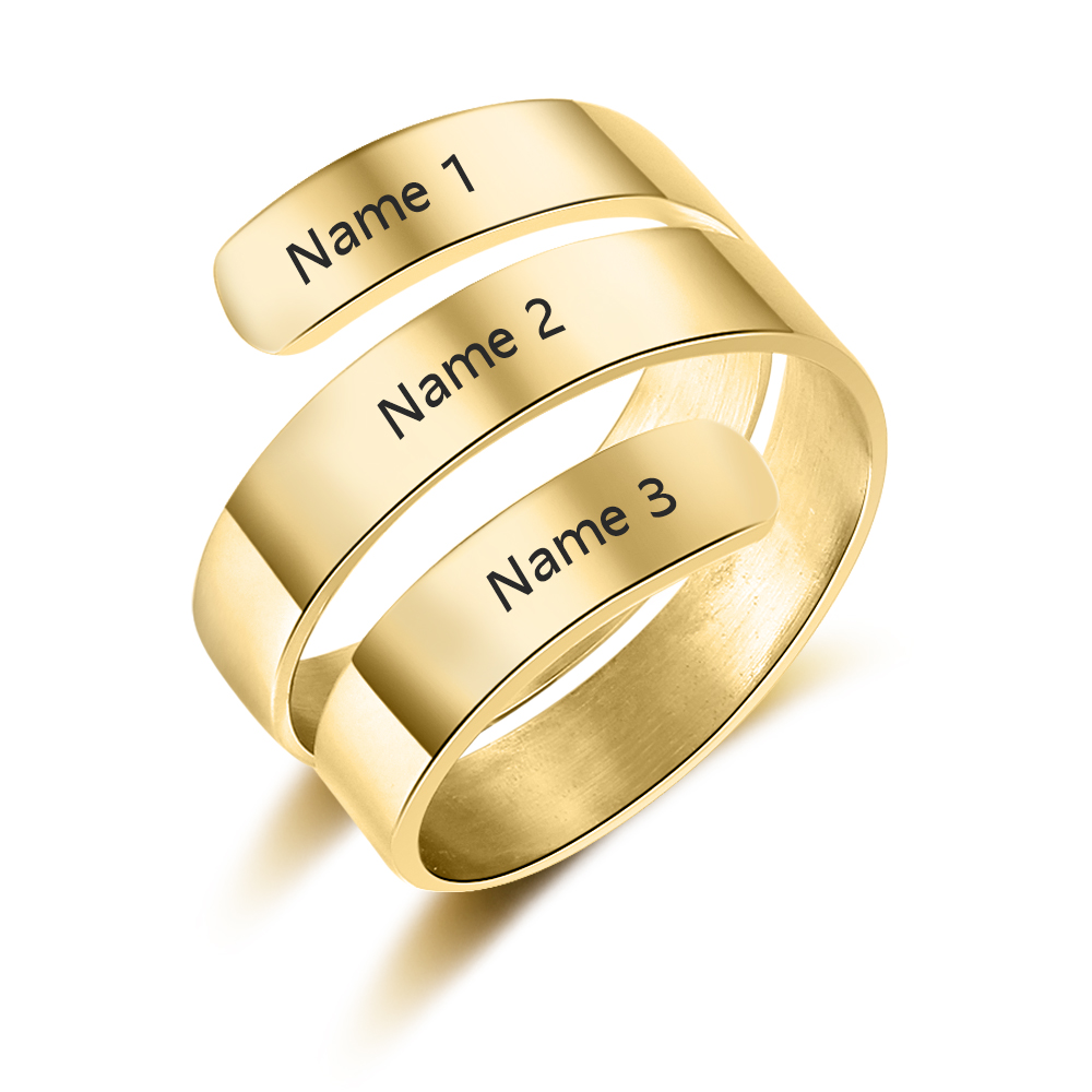 Personalized Rings for Women 2 Colors Name Engraved Charm DIY Rings Fashion Jewelry Wedding Birthday Gift for Mother (RI103745)