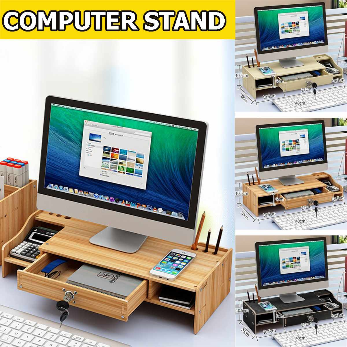 Shelf Laptop-Stand-Holder Wood Desktop Monitor Stand Computer Screen Riser Shelf Plinth Strong Laptop Stand Desk Holder
