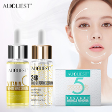 AuQuest Skin Care Set Wrinkle-free 5 Seconds Face Cream and 24k Gold Essence Whitening Skin Vitamin C Serum Face Care
