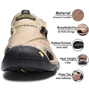 Image 2 - CUNGEL nouveau mâle chaussures en cuir véritable hommes sandales été hommes chaussures plage sandales homme mode en plein air espadrilles décontractées taille 48