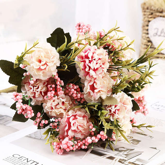 Online Shop Beautiful Artificial Flowers For Christmas Decoration Fake Pearl Daisy Flowers Chrysanthemum Balls Bouquet For Home Decoration Aliexpress Mobile