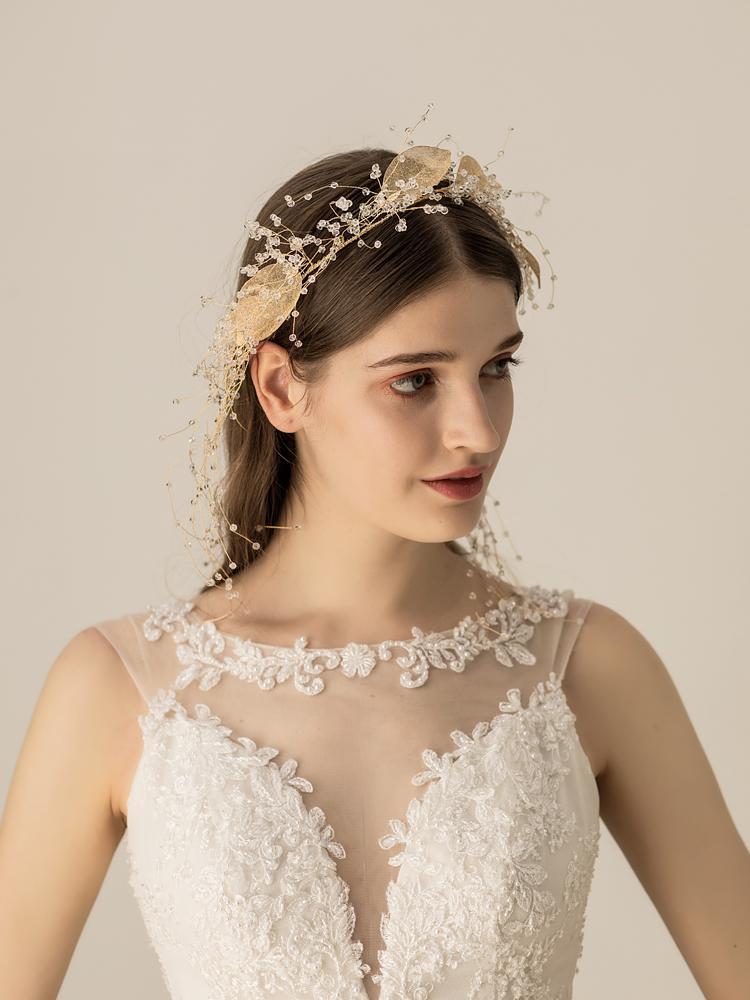 Himstory винтажные повязки на голову с цветами и листьями свадебные аксессуары для волос женские Свадебные тиара на голову вечерние украшения ... - 2
