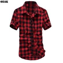 Oeak Summer Fashion Turn-down Collar Short Sleeve Men Shirt Casual Red Black Plaid  Male camisa hombre 2019