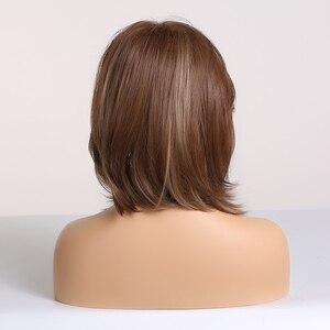 Image 4 - אלן איטון סינטטי שיער ליידי קצר גלי פאות לנשים לערבב חום בלונדינית אפר פאות עם צד פוני טמפרטורה גבוהה סיבים