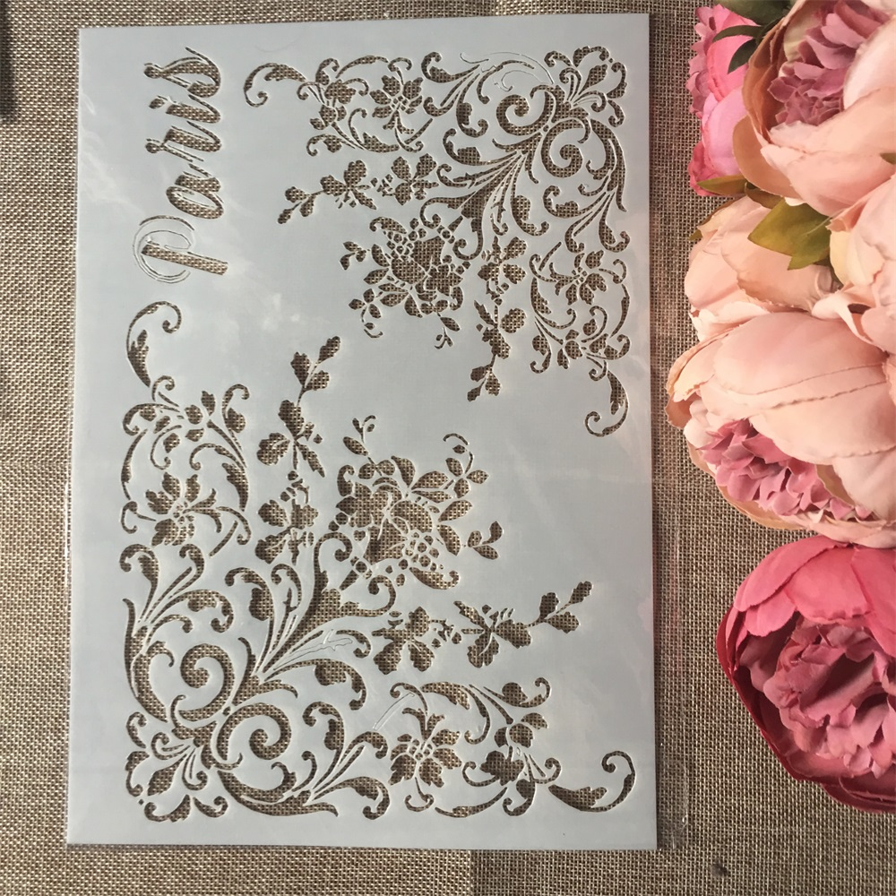 1Pcs A4 Paris Flower Edge DIY Layering Stencils Wall Painting Scrapbook Coloring Embossing Album Decorative Paper Card Template