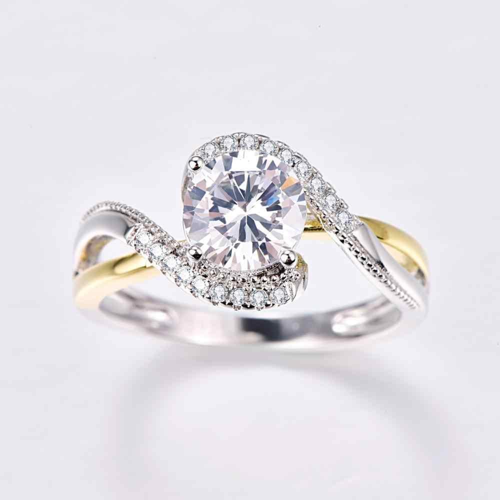 J.C okrągły Cut biały Topaz i Ruby Spinel 925 srebro złoty pierścień rozmiar 6 7 8 9 kobiety zaręczyny Wedding Party biżuteria prezent