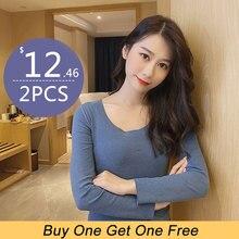 2PCS Women thermal underwear Thin Style Seamless Round Neck Warm thermo shirt women Slim Elastic Underwear