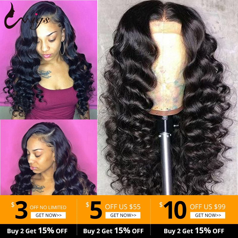 Uwigs Indian Loose Deep Wave Wig 13x4 Glueless Lace Front Human Hair Wigs Pre Plucked With Baby Hair 150 Density Remy Hair Wigs