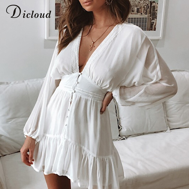 DICLOUD Sexy Plunge V Neck Women's Summer Dress White Lace Long Sleeve Mini Wedding Party Dress Ruffle Elegant Clothes 2021 3