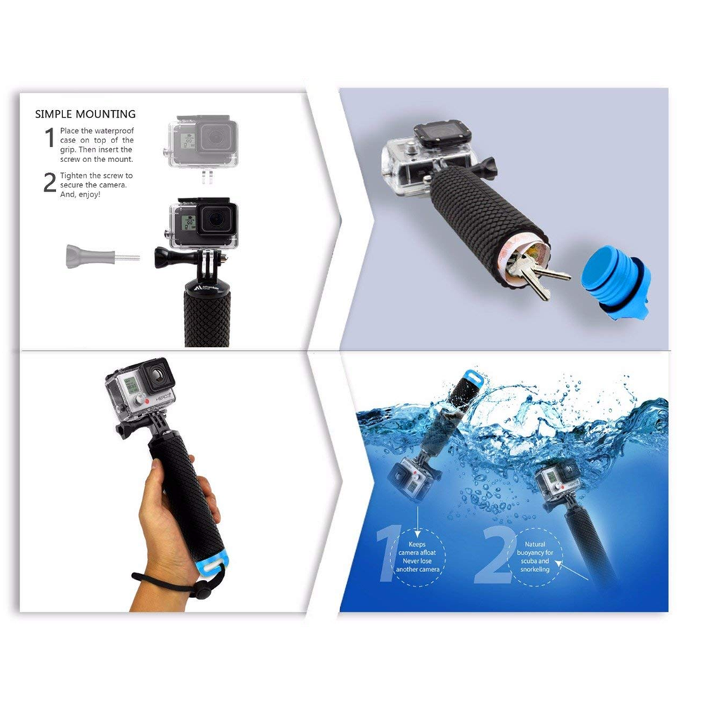 Water Floating Hand Grip Handle Mount Float accessories for Go Pro Gopro Hero 8 7 6 5 4 Xiaomi Yi 4K SJ4000 SJ5000 Action Camera 5
