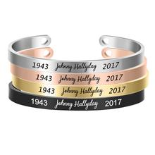 Cuff Bangle Bracelet Engraving Laser Stainless-Steel Forever Charms Women French And