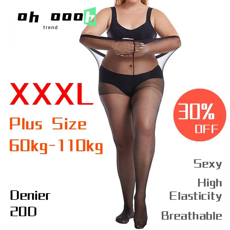 Тонкие чулки 20D для женщин, колготки XXXL большого размера, чулки большого размера, женские сексуальные дышащие эластичные прочные чулки боль...