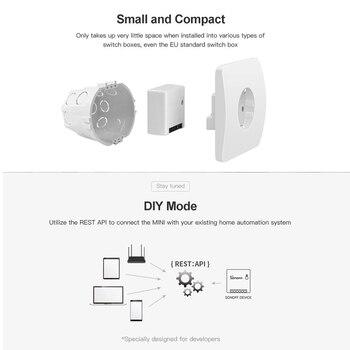 SONOFF Mini De Dos Vías Inteligente Interruptor De Aparato De Automatización Control Remoto Interruptores Para Alexa Google WiFi Inteligente Interruptor
