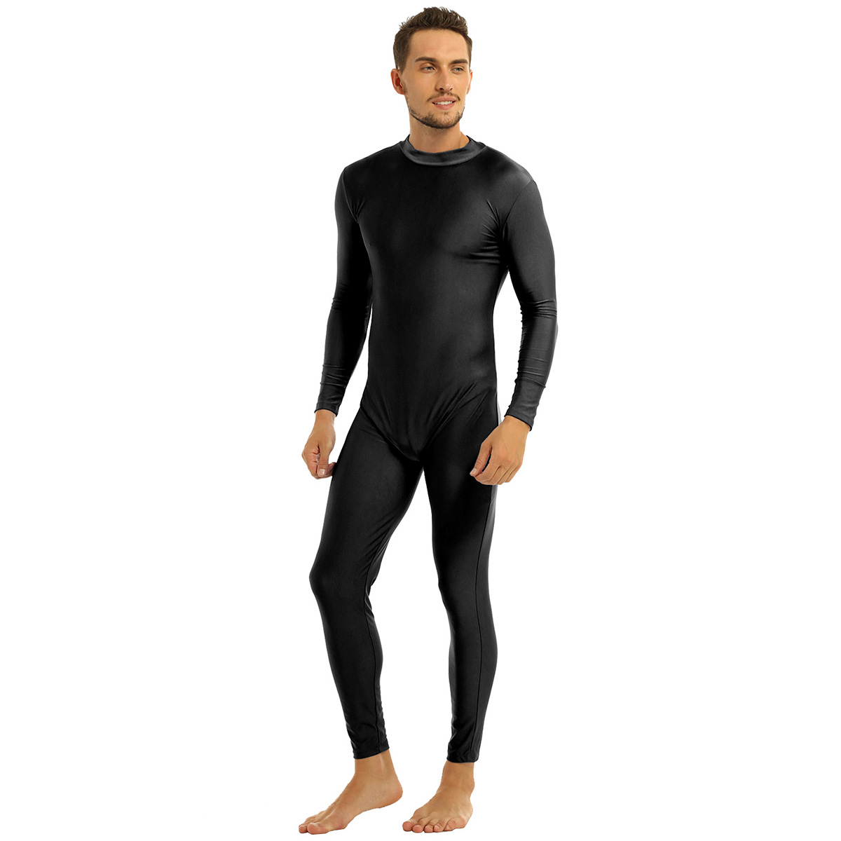 Mens Well Fit One Piece Leotards Long Sleeves Skinny Full-body Catsuit Adult Lycra Dancewear Bodysuit Gymnastics Workout Unitard 15
