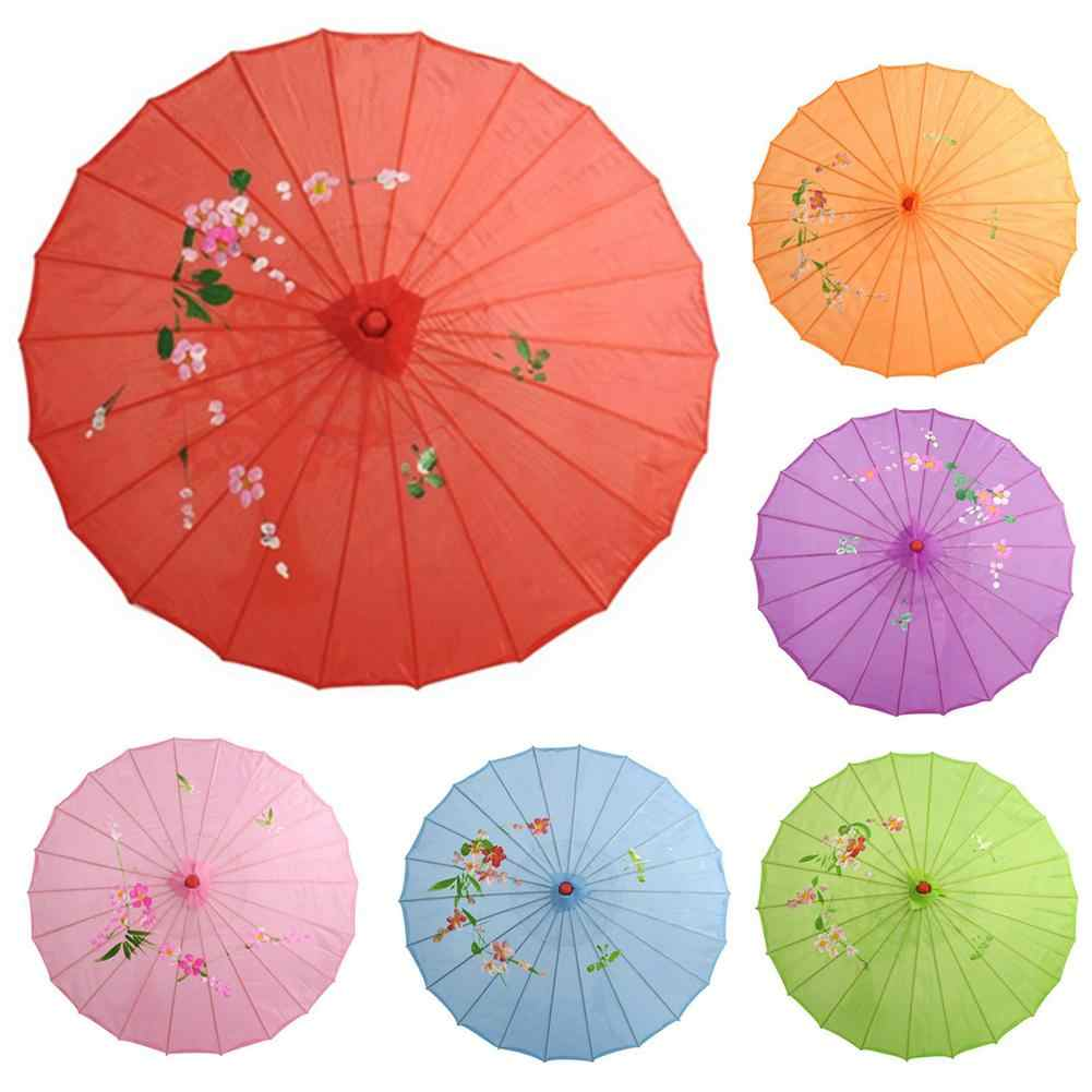 Chinese Japanese Vintage Silk Oilpaper Female Umbrellas Shoots Parasol Dance Props Lightweight Rain Gear Wooden Handle Craft