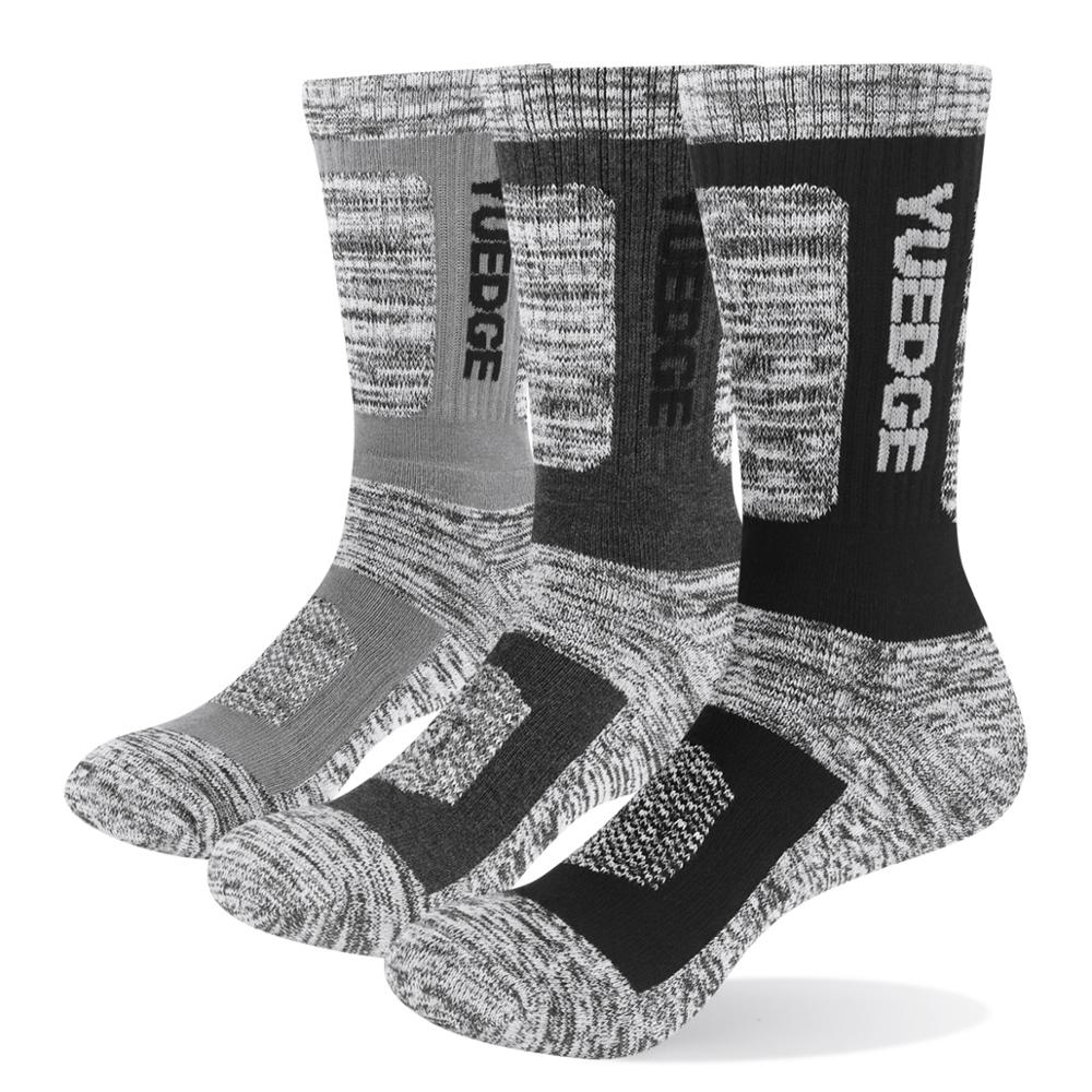 YUEDGE 3 Pairs Men Winter Cotton Cushion Warm Breathable Comfortable Sports Business Casual Dress Crew Sock Size 38-46