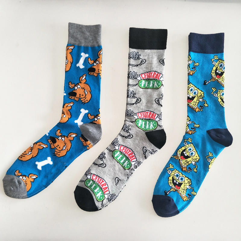 Men's Crew Socks Cartoon Puppy Pattern Breathable Comfortable Party Novelty Funny Socks Casual Fashion Socks
