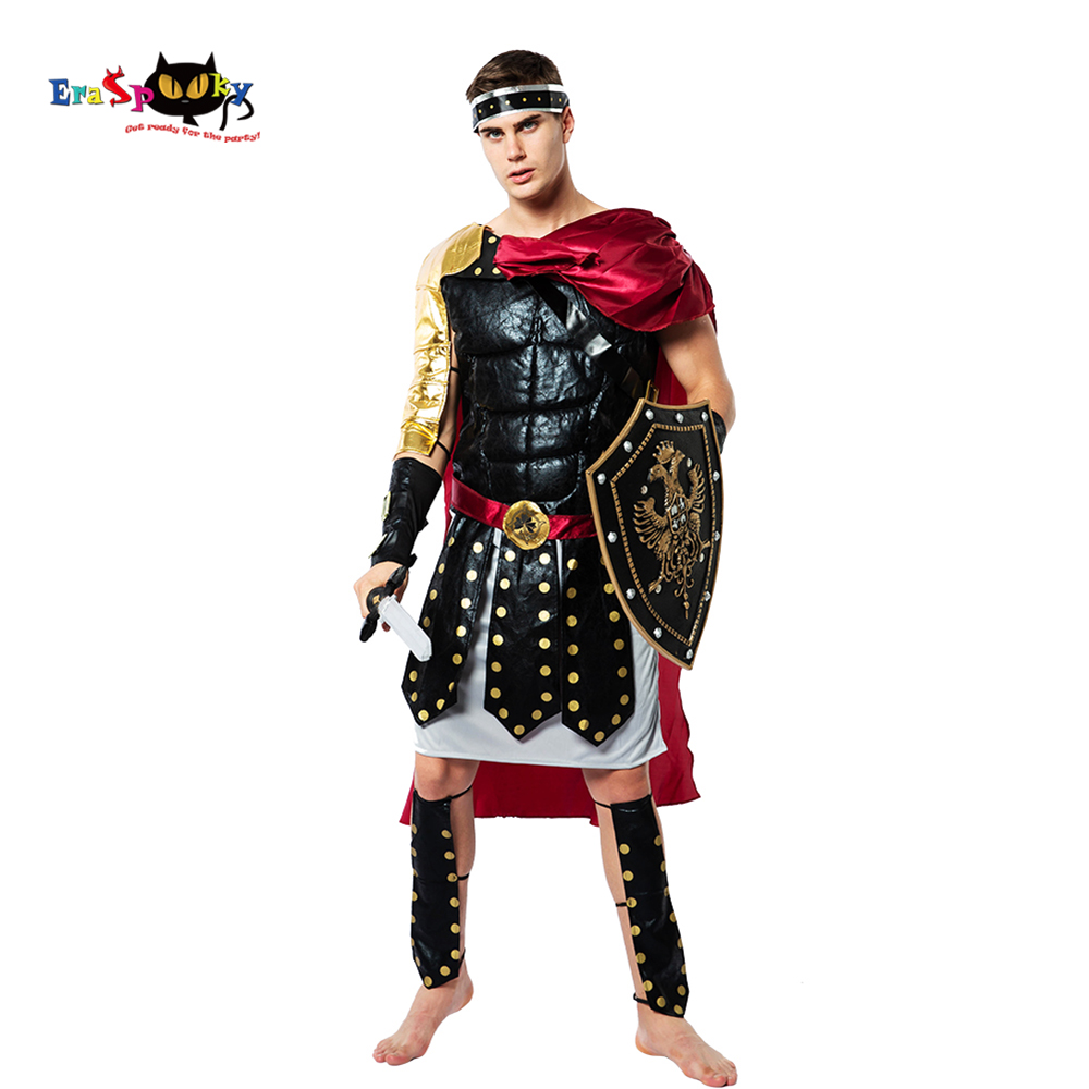 Eraspooky Medieval Roman Royal Knight Warrior Cosplay Halloween Costume For Men Adult Carnival European Gladiators Soldier Cloak