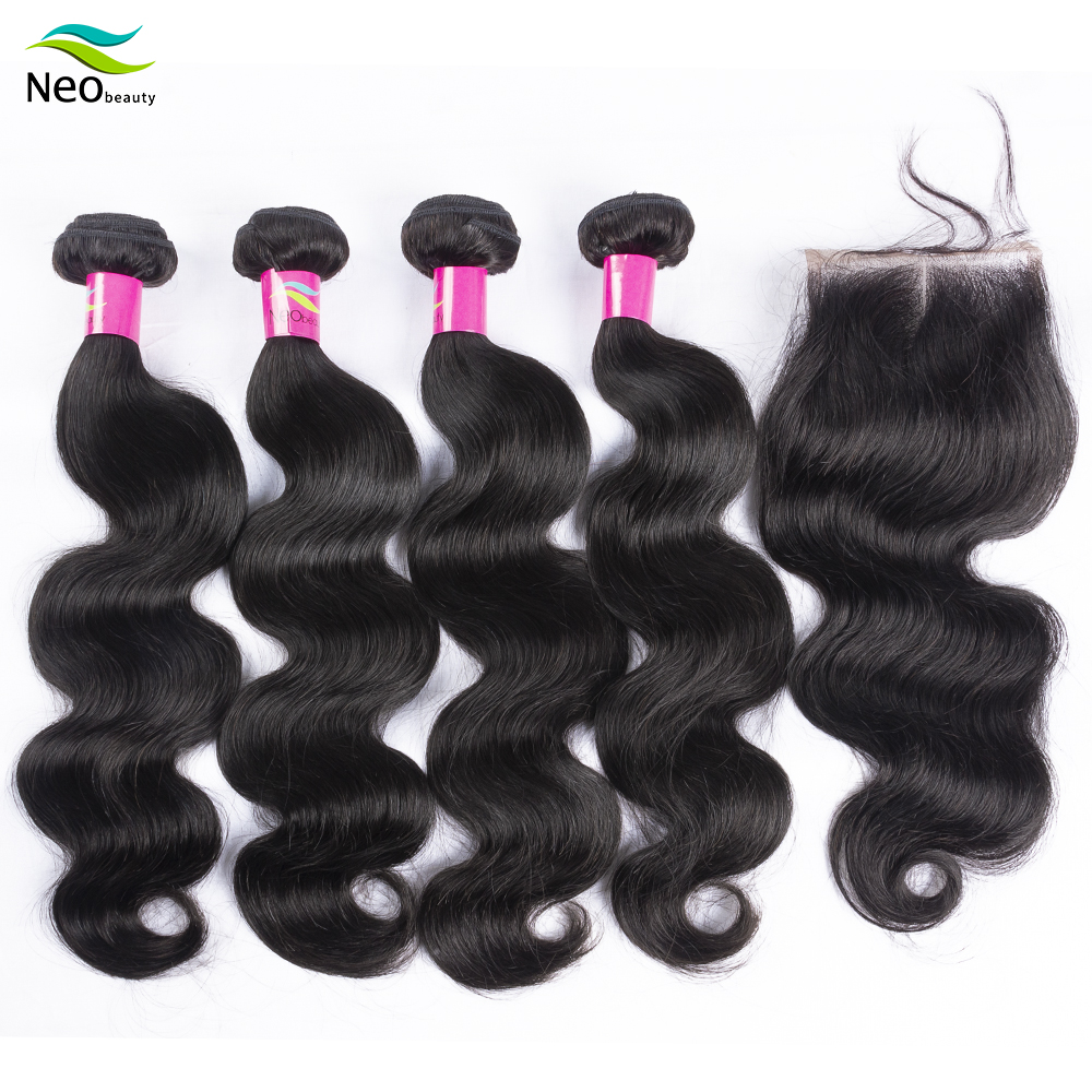 10A Brazilian Hair Weave Bundles 4PCS Body Wave Virgin Human Hair Extension Products With Closure Natural Color Free Shipping