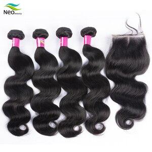 Extensiones de pelo ondulado brasileño 10A 4 Uds. Productos de extensión de pelo humano virgen ondulado con cierre Color Natural envío gratis