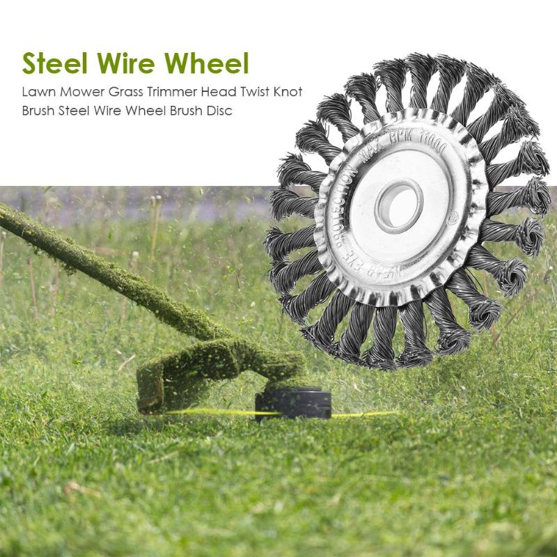 Steel Wire Weeding Brush Grass Trimmer Head Twist Knot Brush Steel Wire Wheel Brush Disc Garden Tools