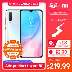 Xiaomi mi 9 lite versão global 6 gb 128 gb smartphone snapdragon 710 32mp ai selfie amoled 6.39 screen 48tela 48mp câmera 4030 mah nfc