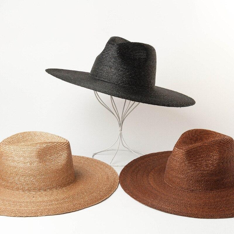 Spring Summer Meticulous Wheat Straw Grass Big Brim Jazz Hat Outdoor Travel Sun Shade Beach Straw Hat