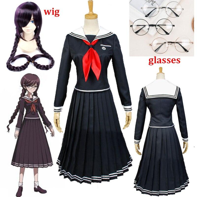Anime Danganronpa Dangan-Ronpa 2 Toko Fukawa Cosplay Costume School Uniform Halloween Party Costumes Dangan-Ronpa Cosplay Wig