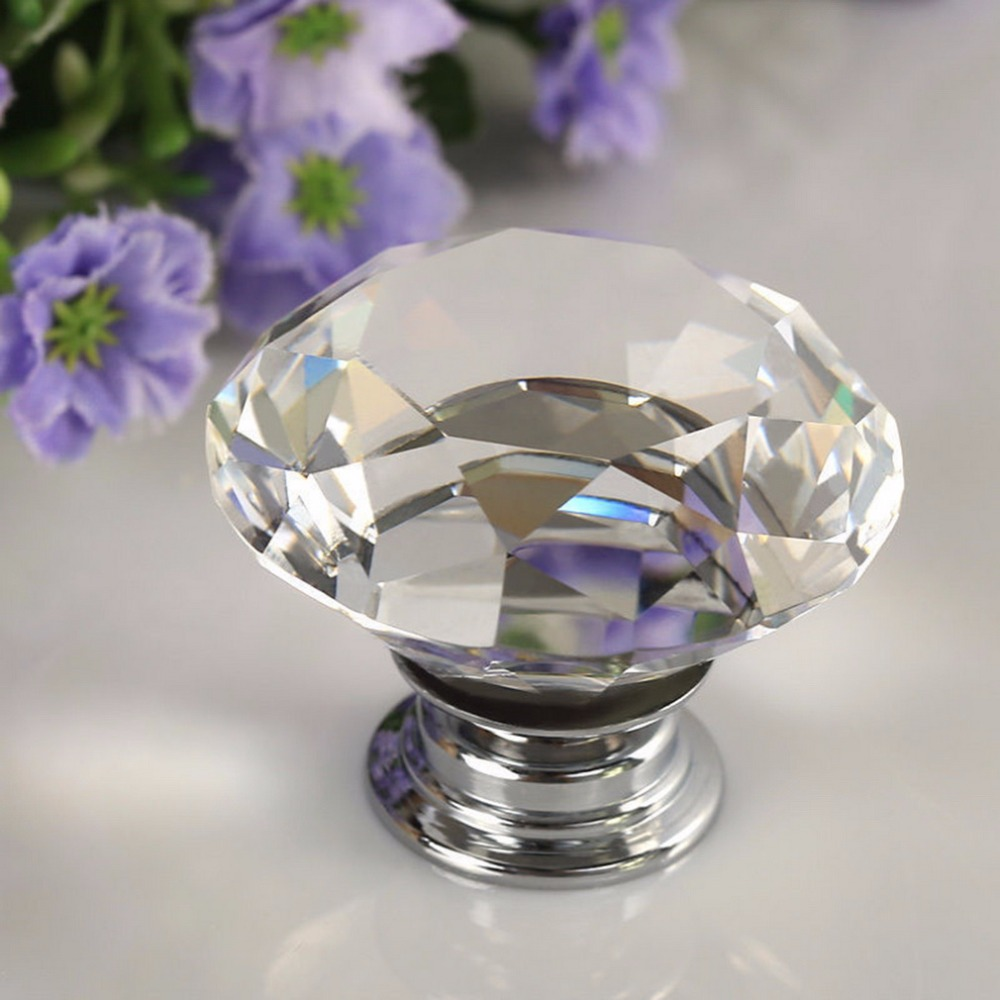 1pcs 30mm Diamond Crystal Glass Alloy Door Drawer Manual Handle Bar Cabinet Wardrobe Pull Handle Knobs Light Weight