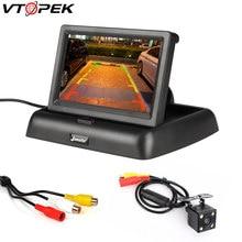 Vtopek-moniteur de voiture pliable, écran HD de 4.3 pouces, TFT LCD, caméra inversée, système de stationnement pour voitures