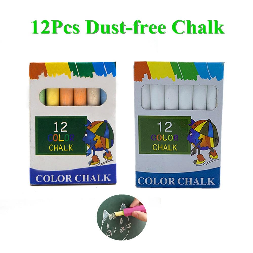 Dustless Teacher Colour Chalk Pen Drawing Chalks For Blackboard Stationary Office School Supplies 12 Pcs/Lot