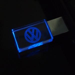 Crystal Usb 2.0 with LED Light Volkswagen VW Car Logo Pen Drive 4GB 8GB 16GB 32GB USB Flash Drive Flash Disk Pendrive Best Gifts