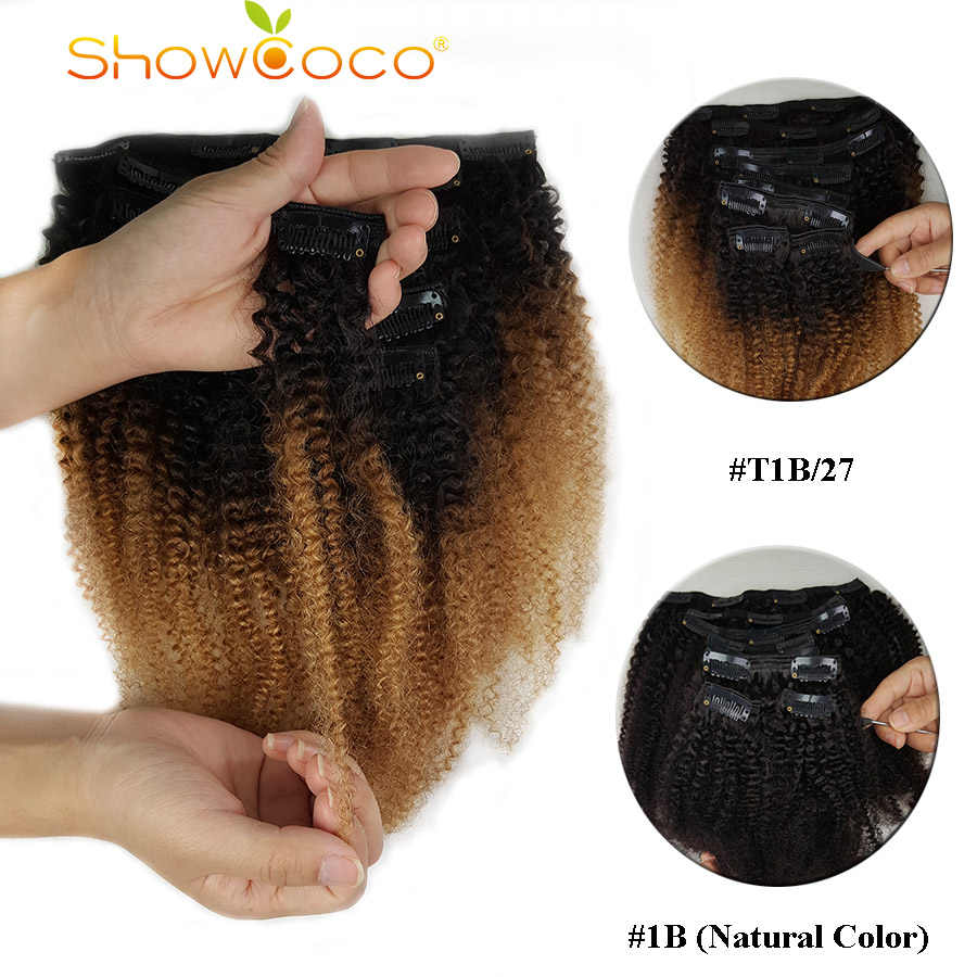ShowCoco Clip in Human Hair Extensions Afro Kinky Curly Clip ins Machine-made Remy Triple Wefts Human Hair for Black Women