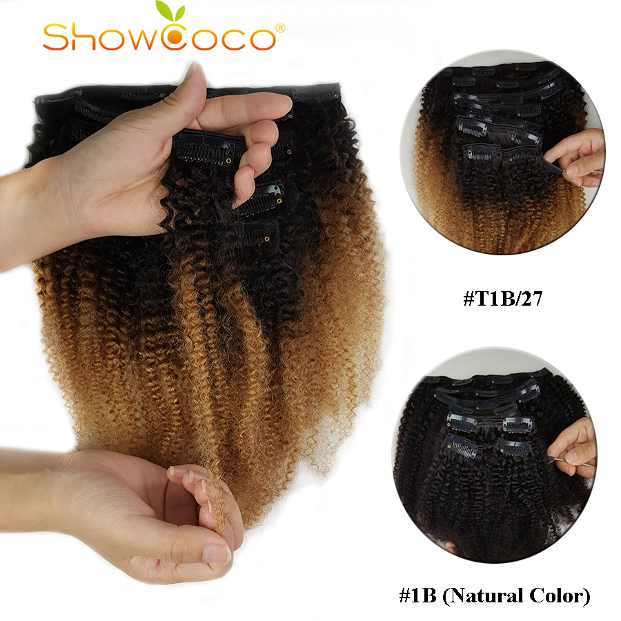 ShowCoco Clip In Human Hair Extensions Afro Kinky Curly Clip Ins Remy Triple Wefts Mongolian Human Hair For Black Women
